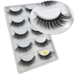 c060a446a93 Pack of 5 3D Mink False Eyelashes Wispy Cross Long Thick Soft Fake ...