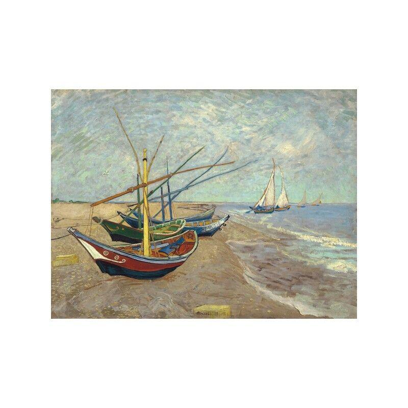 Quadro su Pannello in Legno MDF MDF Legno Vincent Van Gogh Fishing Boats on the Beach at L 45d4bc