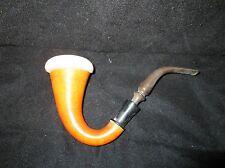 Vintage Calabash Gourd Pipe Meerschaum Liner Brown Stem Used