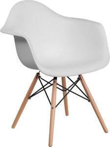 Mid Century Modern Contour Accent Dining Chair In White Finish With