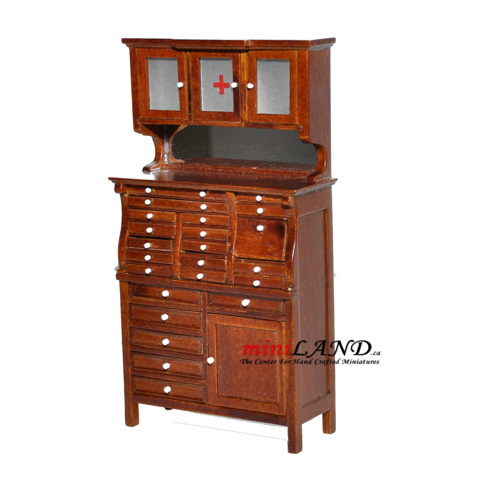 Medical doctor dentist cabinet Fine Quality Dollhouse miniature 1:12 walnut