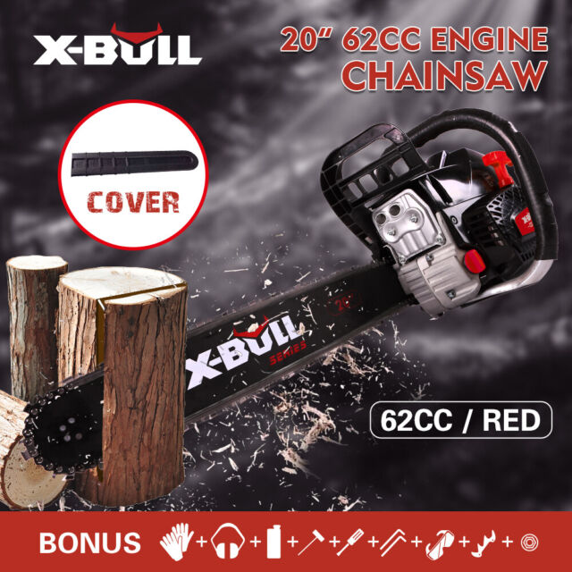 """【10%OFF】 X-BULL 62cc Chainsaw  Petrol 20"""" Bar Commercial E-Start Pruning New Red"""