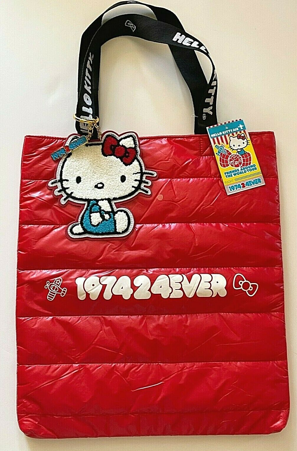 Hello Kitty 45 Anniversary Red Puffy Tote Bag Friends Around World exclusive NWT