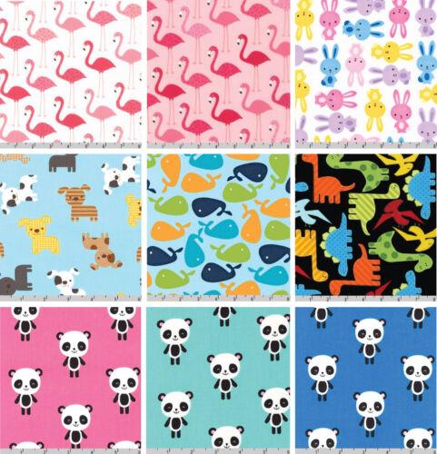 Robert Kaufman Fabric Selection Quilting Cotton Fabric Half Metre Polka Animals