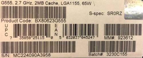 Intel BX80623G555 SR0RZ Celeron® Processor G555 2M Cache 2.70 GHz NEW RETAIL
