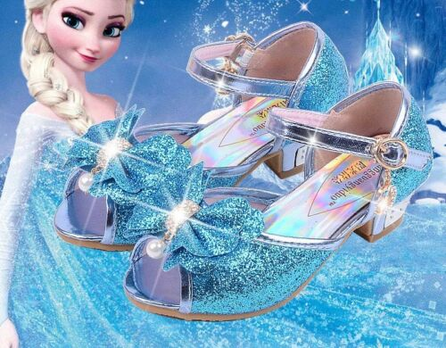 Baby Child Kids Girls Sandals Frozen Elsa Cosplay Bow Princess Party Pearl Shoes