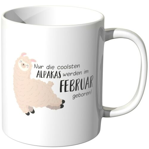 """Juniwords Cup /""""only the coolest Alpacas-February Born/"""" Gift Birthday"""
