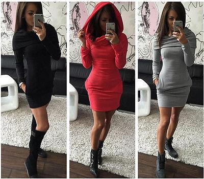 Women Hooded Hoody Sweatshirt Ladies Bodycon Pullover Tunic Jumper Dress
