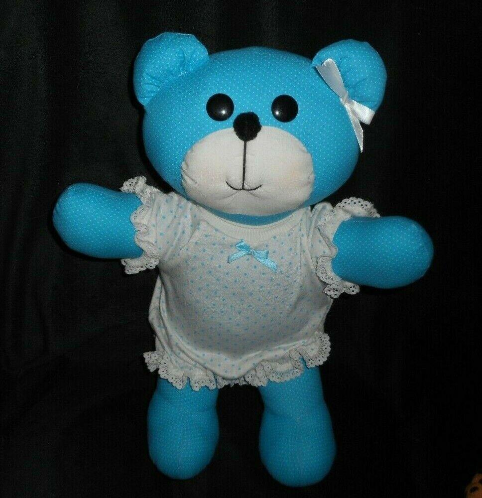 14  VINTAGE POLKA DOT blueE & WHITE TEDDY BEAR PAJAMAS STUFFED ANIMAL PLUSH TOY