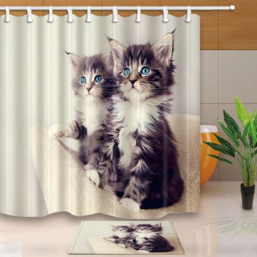Cute cat Bathroom Decor Shower Curtain Waterproof Fabric w//12 Hook 71*71inches