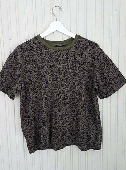 MARIMEKKO Tya Women's T-Shirt Top Green Dark Purple Cotton Size M MINT