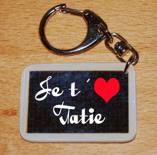 Porte-cles style ardoise d'écolier message «Je t/'aime Tatie»