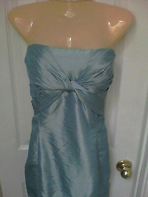 SEXY STRAPLESS DRESS WOMENS SZ 16 SHIMMER BLUE EVENING PARTY GOWN