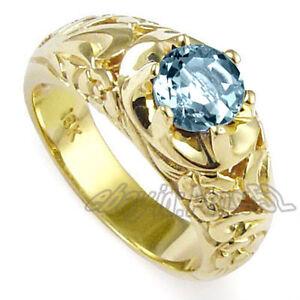 Solid 18 k Gold Ring Natural Diamonds Small 0.33 ct Natural Aquamarine