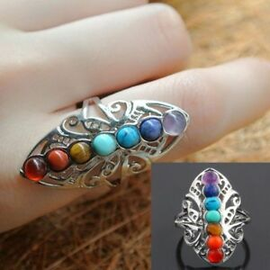 Adjustable-Unisex-Reiki-Gem-Ring-7-Chakra-Silver-Plated-Healing-Hollow-Stone