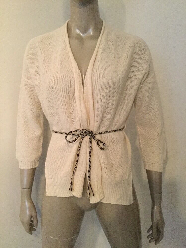 NWT POMANDERE  WOMEN'S LINEN COTTON CARDIGAN BELTED SWEATER IVORY SIZE 40