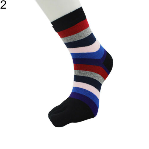 LN/_ UK/_ Colorful Striped Women Breathable Cotton Middle Tube Five Toes Socks D