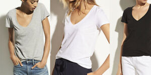 New-Vince-Essential-V-Neck-Cotton-Short-Sleeve-Tee-T-shirt-Top-XS-S-M-L-XL
