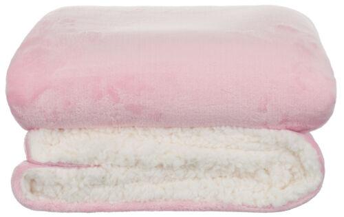 4 Farben Baby Flanell-Kuscheldecke mit Sherpa-Rückseite 2-Farbig 100x150 cm