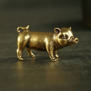 Antique-Brass-Pig-Pendant-Statue-Old-Chinese-Zodiac-Lucky-Pocket-Gift-Ornament
