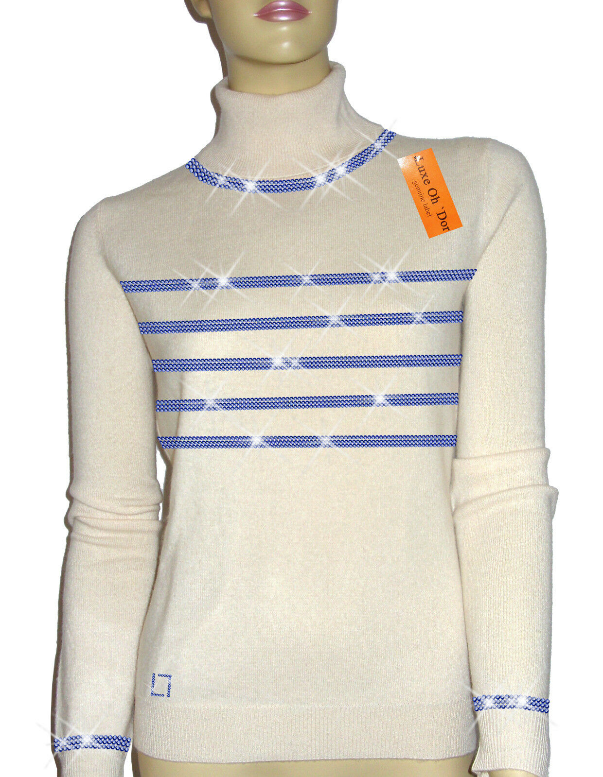 Luxe Oh` Dor 100% Cashmere Cashmere Cashmere Sweater Hamptons Lifestyle White Navy 46 48 L XL a42b27