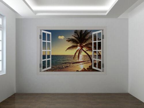 Palm tree on the tropical beach photo window wall sticker wall mural 40060338ww