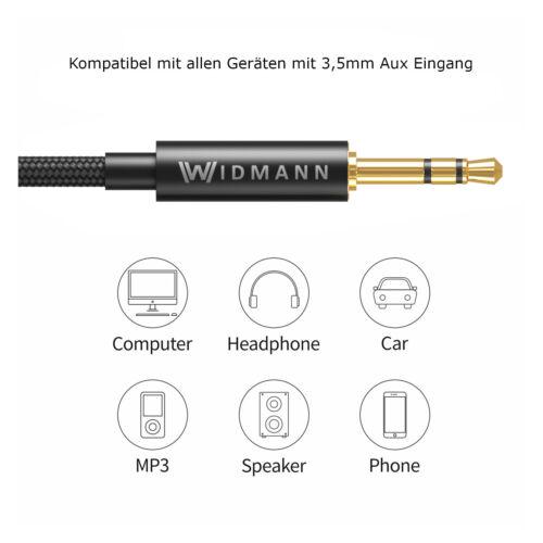 1m AUX Audio Kabel 3,5mm Klinke Stecker Klinkenkabel Handy HTC iPhone PC Auto ✅