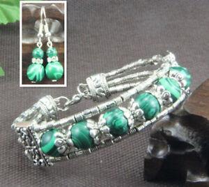 Ladies-Bangle-Earrings-Malachite-Tibetan-Silver-Bracelet-Earrings-Set