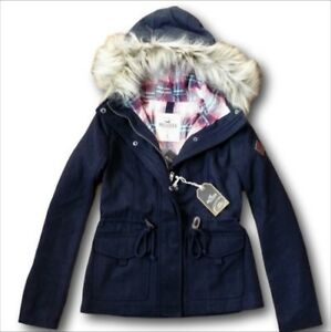 NWT-Hollister-by-Abercrombie-Wool-Anorak-Jacket-Plaid-Lined-Coat-Navy-XS-S