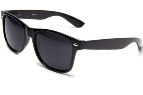 2-Black Glossy Blues Brother Style Sunglasses Dark Lens Glasses
