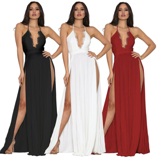 Womens Shouder Sleeveless Sparkly Bodycon Slit Evening Party Dress Clubwear HY