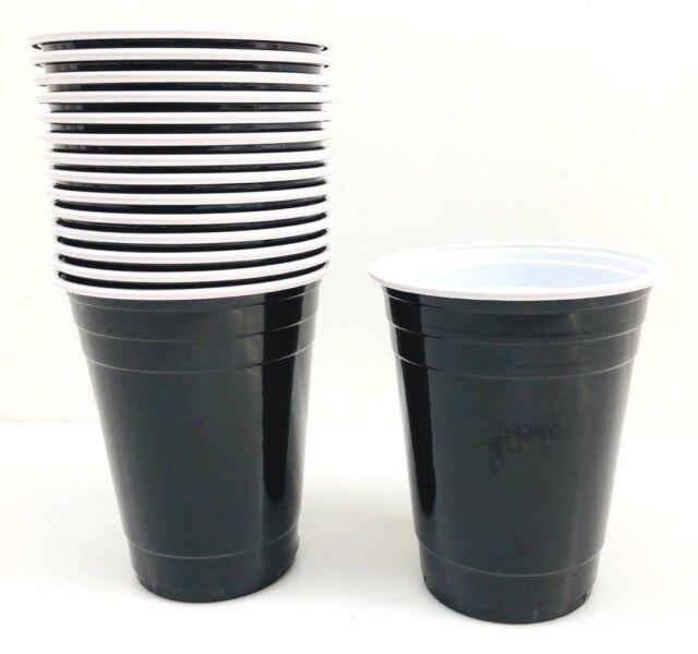 Black 16 oz Plastic Cups 15 ct