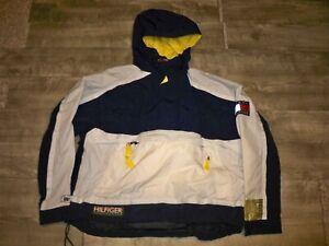 Tommy Hilfiger Vintage Colorblock Hooded Sailing Jacket Coat XL Logo Flag