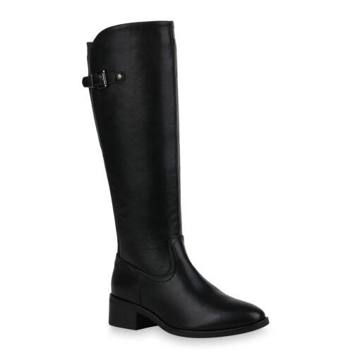 Damen Stiefel Reiterstiefel Leder-Optik Boots Reiter Schuhe 832358 Trendy
