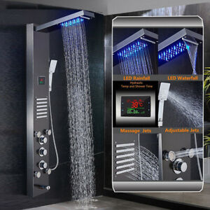 ELLO-amp-ALLO-Stainless-Steel-Shower-Panel-Tower-System-Rain-Massage-Jets-LED-Light