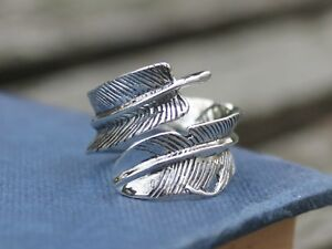 Chunky-Adjustable-925-Sterling-silver-feather-ring-Gift-for-her
