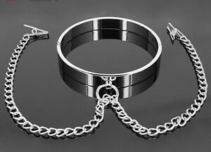 Metal-Flat-Collars-with-Clamp-Locking-Slave-Lockable-Neck-Ring-Female-Costume