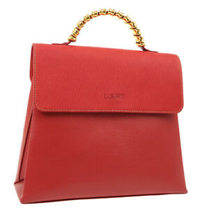 LOEWE-VELAZQUEZ-2way-Hand-Bag-Purse-L26-Red-Leather-Spain-O03009