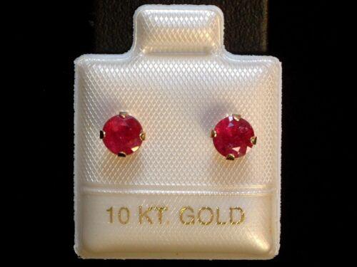 Gold 417 Ohrringe  Brillant Schliff 10 Kt 5 mm Exclusive Rubin Ohrstecker