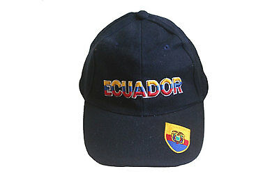 ECUADOR DARK BLUE COUNTRY FLAG EMBOSSED HAT CAP .. NEW