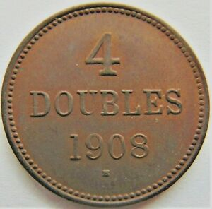 1908-H-GUERNSEY-4-Doubles-Lustrous-tan-grading-UNCIRCULATED