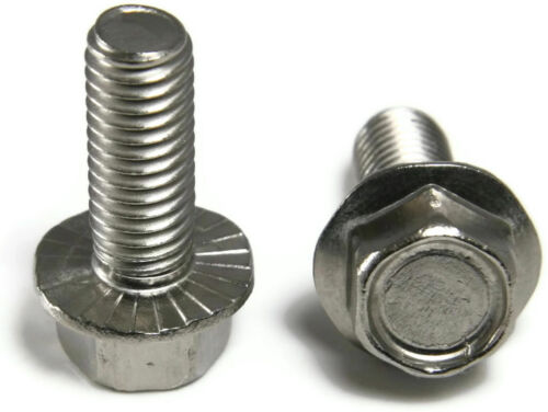 """Qty 100 Stainless Steel Hex Cap Serrated Flange Bolt FT UNC #10-24 x 1//2/"""""""
