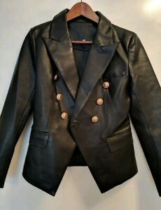 Black-Leather-Blazor-Jacket-With-Gold-Buttons-Size-Large-uk-10-12