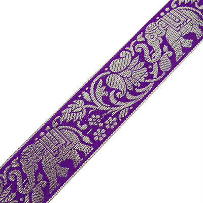 3yd Purple Ribbon Jacquard Trim Animal Printed Metallic Thread Sewing Craft Lace