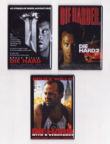 DIE HARD - MOVIE POSTER MAGNETS (2 3 mclane vhs print laser disc art nakatomi)
