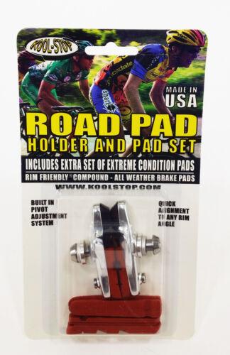 Kool-Stop Shimano Type Brake Pads /& Holders KS-RHD 1pr SALMON /& Salmon Black