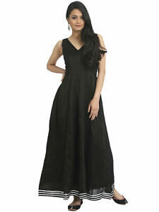 7f00a28aa26 Image is loading Black-Solid-Maxi-Dress-Sleeveless-Stretch-Knit-Empire-