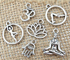 6 YOGA Tibetan Silver Charms Collection Set Lot OM, Lotus Flower, Tree US Seller