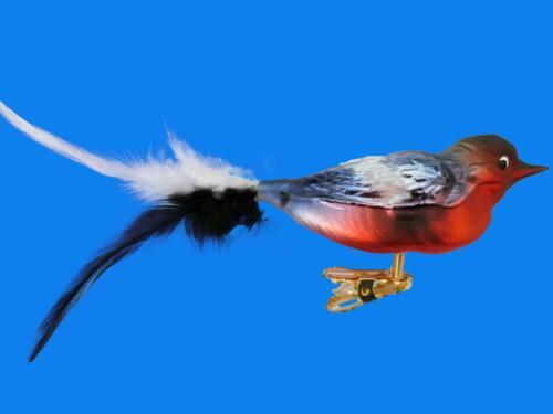 BULLFINCH BIRD GERMAN BLOWN GLASS CHRISTMAS TREE ORNAMENT CLIP ON GIMPEL FEATHER