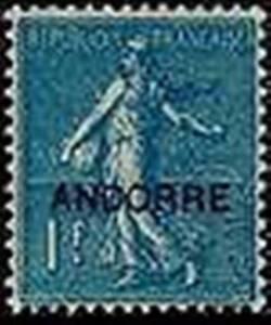 ANDORRE-FRANCAIS-STAMP-TIMBRE-N-18-034-SEMEUSE-FOND-LIGNE-1-F-BLEU-034-NEUF-xx-LUXE